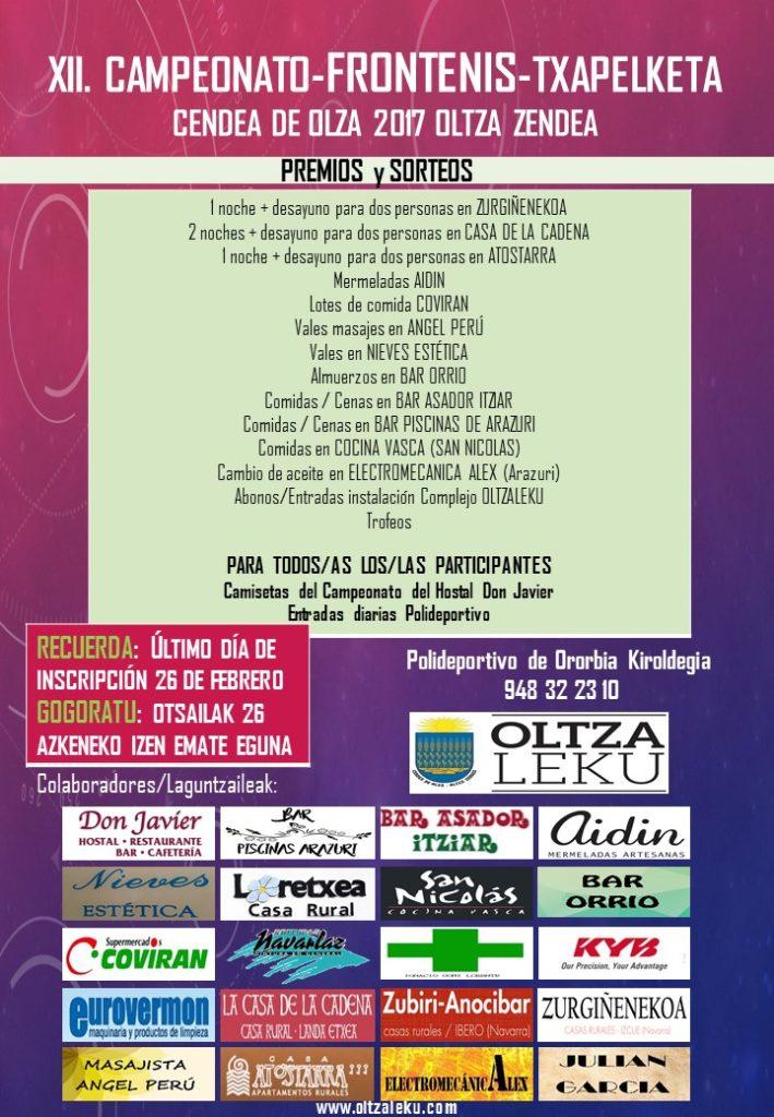 Premios campeonato frontenis Oltzaleku